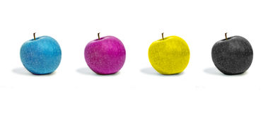 Cmyk. Four apples in cmyk color Royalty Free Stock Image