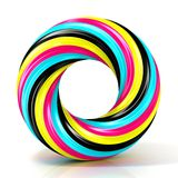 CMYK abstract circular sign. With narrow stripes, isolated on white background royalty free illustration