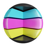 CMYK abstract sphere. CMYK colors Royalty Free Stock Images