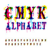 CMYk alphabet. Composition from unrecognized different letters and drops and streaks. Contains three separate layers, easily edit and mix colors royalty free illustration