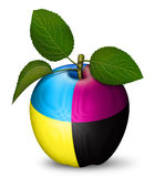 CMYK Apple. Digital illustration of an apple as a CMYK key Royalty Free Stock Images