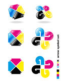 CMYK arrow symbol set. Royalty Free Stock Photo
