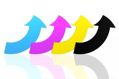 CMYK arrows. Isolated in white background Stock Photo