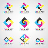 CMYK Art logo vector set design- cyan and magenta and yellow and keyblack color Stock Image