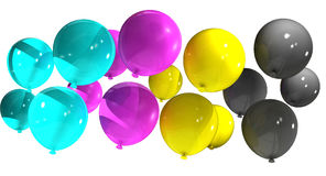 Cmyk balloons. Cmyk abstract balloons on white background Stock Photography