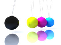 Cmyk balls newton´s cradle Stock Photography