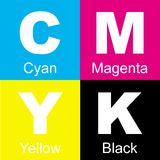 CMYK Blocks. An illustration of CMYK color blocks, used for the standardization of colors for printing or graphics purposes stock illustration
