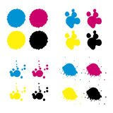 Cmyk blots. Four types cmyk (Cyan, Magenta, Yellow and Key) blots isolated on white background. Eps format is available Royalty Free Stock Image