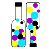 CMYK Bottles, ink for print publishing. Bouncing colors royalty free illustration