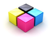 CMYK boxes. It can be used as a trade mark or an illustration on a polygraphic theme Royalty Free Stock Images