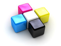 CMYK boxes cross. Conceptual image can be used as a trade mark or an illustration on a polygraphic theme Royalty Free Stock Image