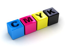 CMYK boxes in a horizontal. It can be used as a trade mark or an illustration on a polygraphic theme Stock Photo