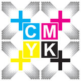CMYK-Briefgestaltungs-Kunstbild Stockbild