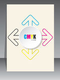 Cmyk brochure with color arrow lines and white 3d circle Stock Image