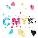 CMYK broken, smashed word explosion Stock Photo