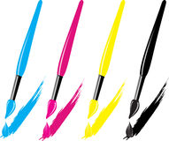 CMYK brush with drops Stock Images