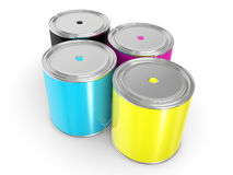CMYK - Buckets with a paint Royalty Free Stock Photography