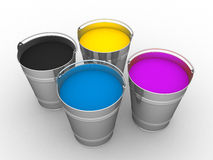 CMYK - Buckets with a paint Stock Photography