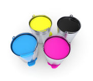 CMYK - Buckets with a paint Royalty Free Stock Image