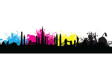 Cmyk building cityscape pattern splash Royalty Free Stock Images