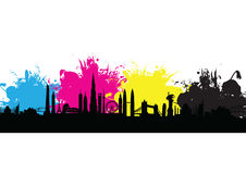 Cmyk building cityscape pattern splash Royalty Free Stock Image