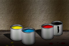 CMYK cans. Of paint over wooden floor stock illustration