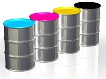 CMYK-cans med metalllock vektor illustrationer