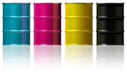 CMYK-cans med metalllock royaltyfri illustrationer
