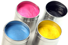 CMYK cans of paint Royalty Free Stock Image