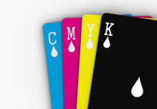 CMYK Cards. Four cards with the basic printing colors Stock Photos