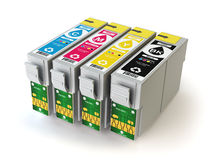 CMYK cartridges for colour inkjet printer isolated on white. Royalty Free Stock Images
