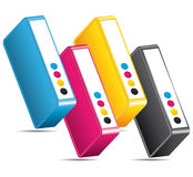 CMYK CMJN colors printing icon. CMYK CMJN ink toners. Colors printing icon concept Royalty Free Stock Photo