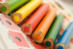 Cmyk color bars with colour pencils Royalty Free Stock Image