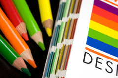 Cmyk color bars on printed. And pencils Stock Photos