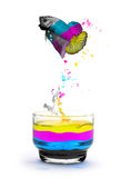 CMYK color, concept. Design by jumping fighting fish animal Royalty Free Stock Photography