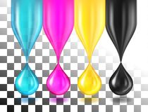 CMYK color drops on white Royalty Free Stock Image