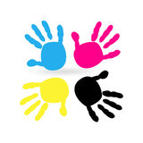 Cmyk color with hand prints vector. Background Royalty Free Stock Photo