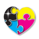 Cmyk color heart puzzle. A different idea stock illustration