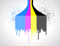 Cmyk color lines and ink drops illustration Stock Photography