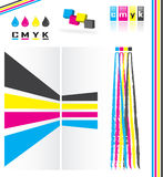 Cmyk color model. Various design elements symbolizing the subtractive cmyk (cyan magenta yellow key) color model Royalty Free Stock Photography