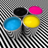 Cmyk color paint background. And 3d metal can Royalty Free Stock Photography