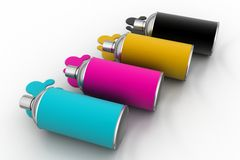 Cmyk color Paint bottles Stock Image