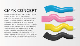 CMYK color paint tubes. Ads banner concept. Vector illustration. Royalty Free Stock Image