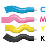 CMYK color paint tubes. Vector illustration. Royalty Free Stock Photo
