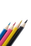 CMYK color pencils Stock Photography