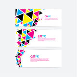 CMYK color profile. Abstract triangle flow - twister in cmyk col Stock Images