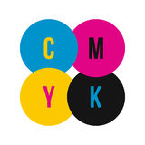 CMYK color profile icon, flat style Stock Photo