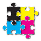 Cmyk color puzzle. A different idea stock illustration