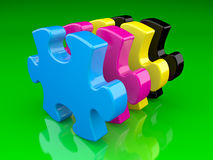 Cmyk color puzzle Royalty Free Stock Photography