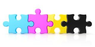 CMYK color puzzle row. 3D render Stock Images